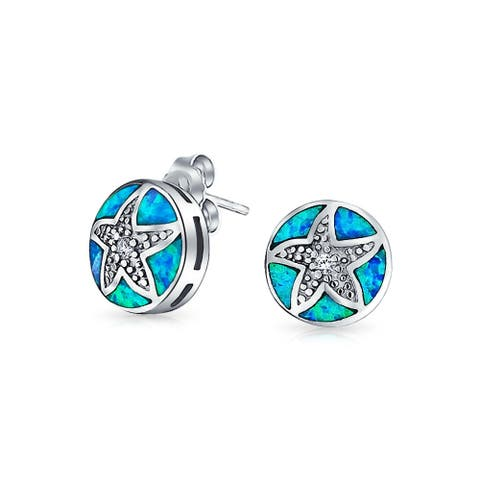 Nautical Beach Round Disc Blue Created Opal Inlay Starfish Stud Earrings CZ Accent Sterling Silver October Birthstone