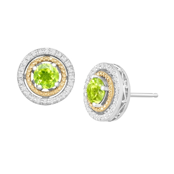1 1/5 ct Natural Peridot & 1/8 ct Diamond Stud Earrings in Sterling Silver and 14K Gold - Green