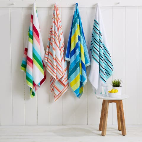"""Great Bay Home 2 Pack Cotton Striped Beach Towels - 34"""" x 64"""""""