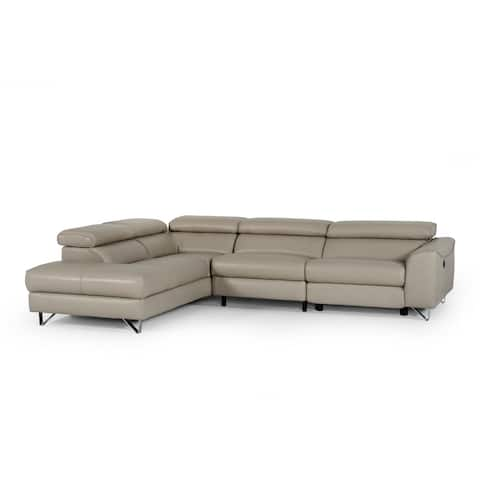 Divani Casa Versa Modern Light Taupe Eco-Leather LAF Chaise Sectional w/ Recliner