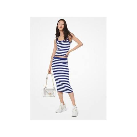 MICHAEL KORS Womens Blue Striped Midi Pencil Skirt Size L