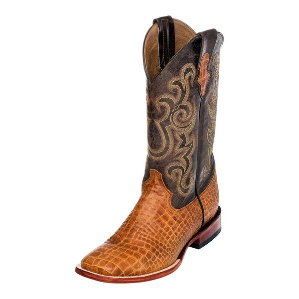 Ferrini Western Boots Mens Caiman Print Square Toe Honey