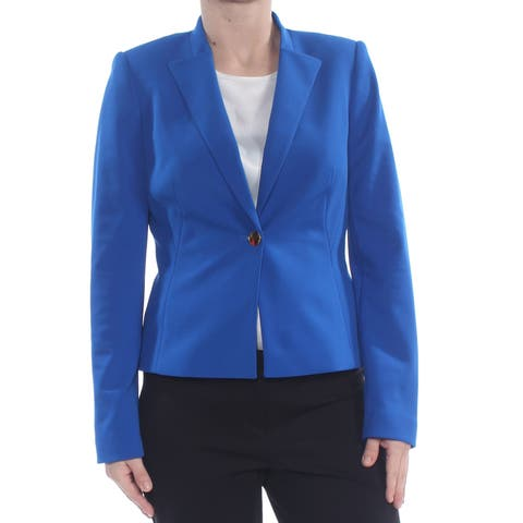 CALVIN KLEIN Womens Blue One Button Front Dress Jacket Petites Size: 14P
