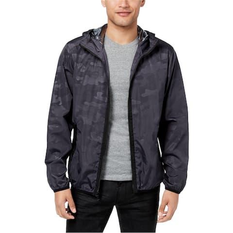 Sean John Mens Full Zip Hooded Windbreaker Jacket, blue, Large