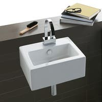 Bissonnet FZ14 Wall-mount or Above-counter Ceramic Sink with Overflow and One Faucet Hole - White - n/a