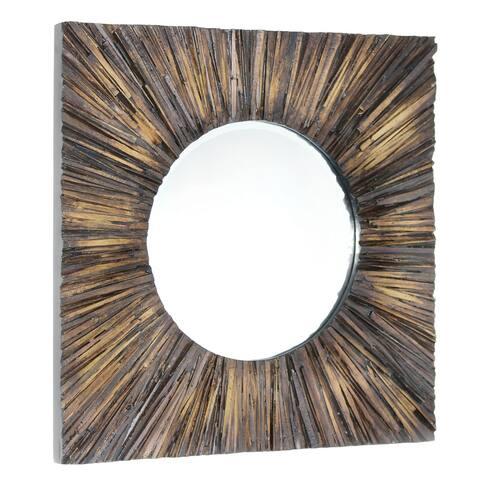 """Fatima Brown Wood Mirror - 30"""" x 2"""" x 30"""""""
