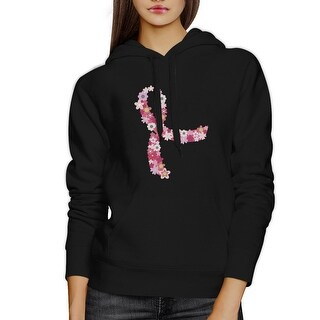 Pink Floral Ribbon Black Hoodie For Breast Cancer Support Gift