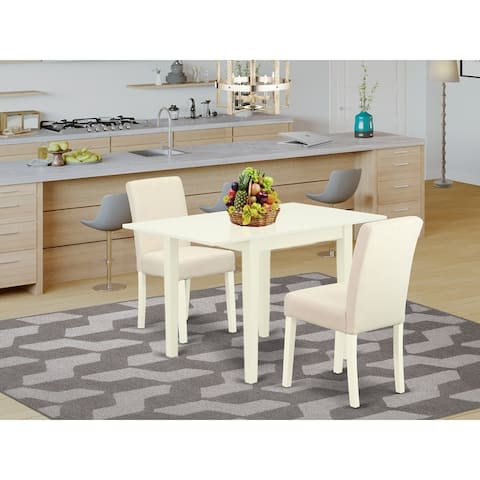 Dining set with Wooden Dining Table and Kitchen Chairs with Light Beige - Linen White Finish (Chairs Piece Option)