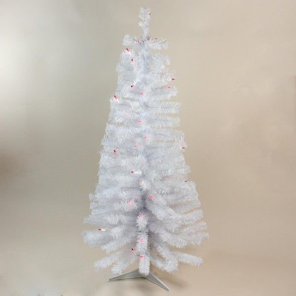 4' Pre-Lit White Flat-Round Tips Wrapped Tree w/50 UL Pink Lights