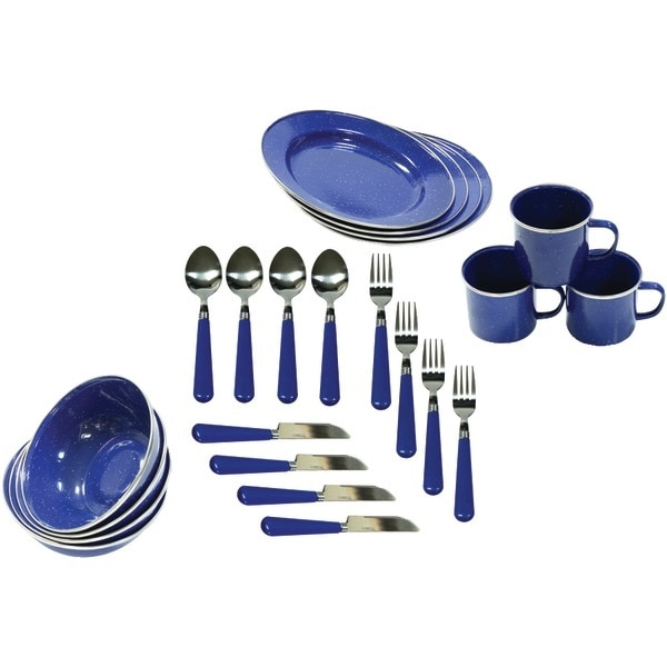 Stansport 11220 Enamel Camping 24-Piece Tableware Set