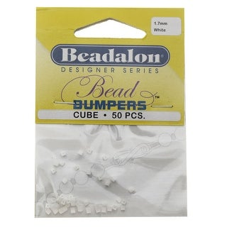 Beadalon Bead Bumpers, Cube Silicone Spacers 1.7mm, 50 Pieces, White
