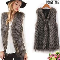 Lady Faux Fur Vest Waistcoat Winter Warm Long Hair Coat Outwear