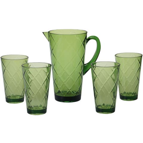 5pc Green Contemporary Durable Drinkware Set