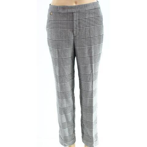 Lauren By Ralph Lauren Black Womens Size 12 Houndstooth Dress Pants