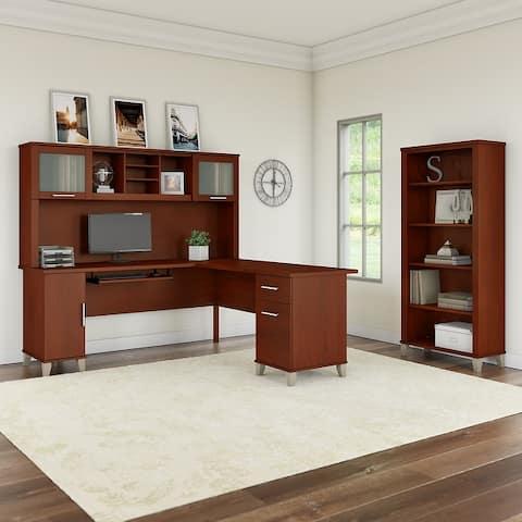 Copper Grove Shumen Ash Grey 72-inch L-shaped Desk with Bookcase