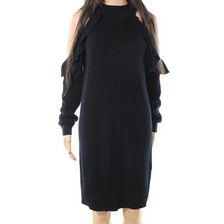 Solutions Black Ruffled Cold-Shoulder Womens Medium M Sweater Dress