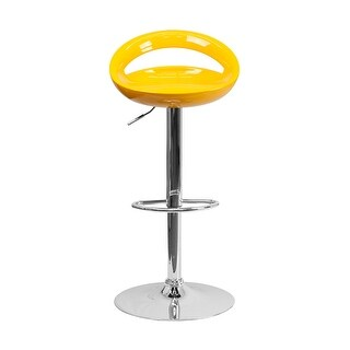 Offex Contemporary Yellow Plastic Adjustable Height Bar Stool With Chrome Base - [OF-CH-TC3-1062-YEL-GG]