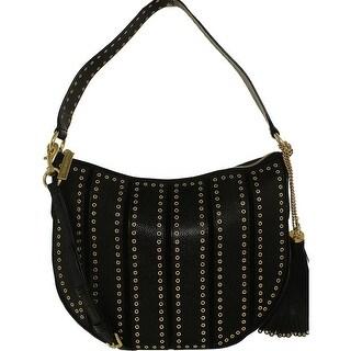 Michael Kors Women's Medium Brooklyn Grommet Suede Leather Shoulder Bag Hobo - Black