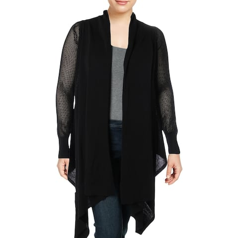 Vince Camuto Womens Cardigan Sweater Open Front Sheer - Black - XL
