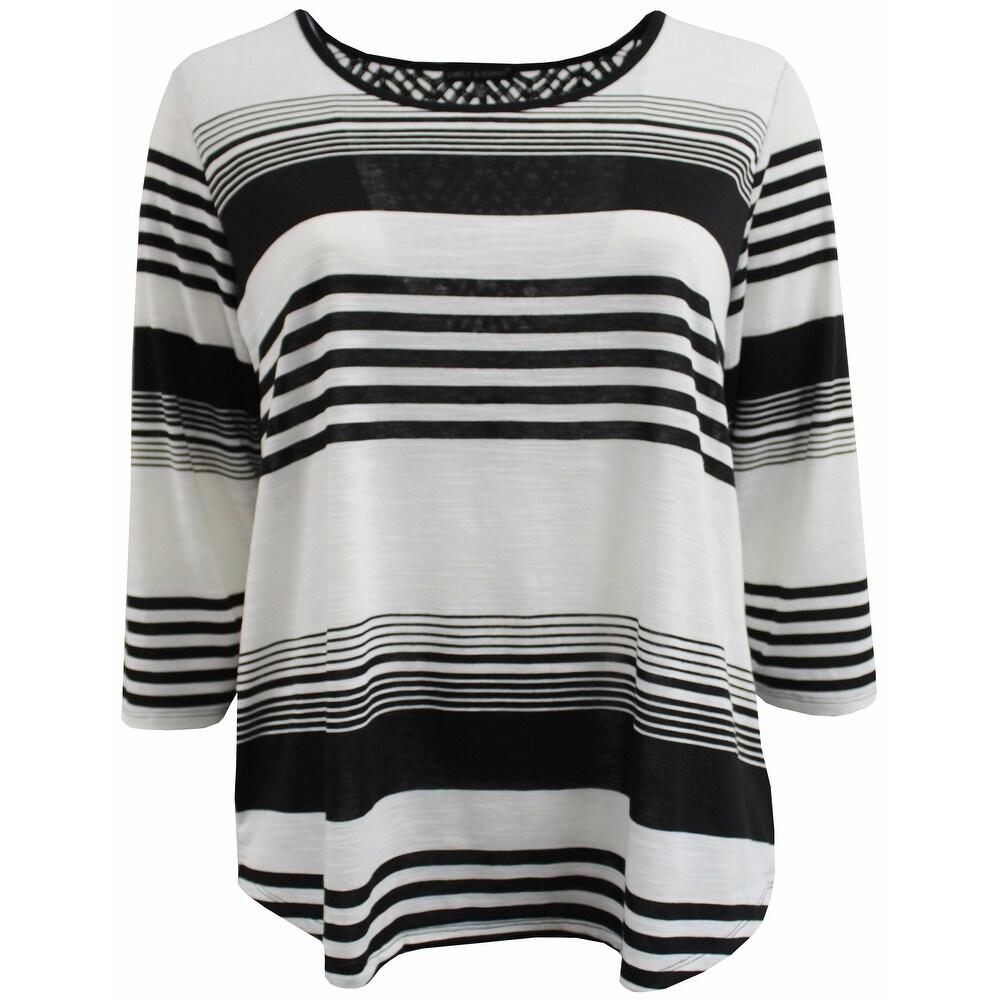 Women Plus Size Striped Back Lace Knit Top Tee Blouse Shirt Black 170.12