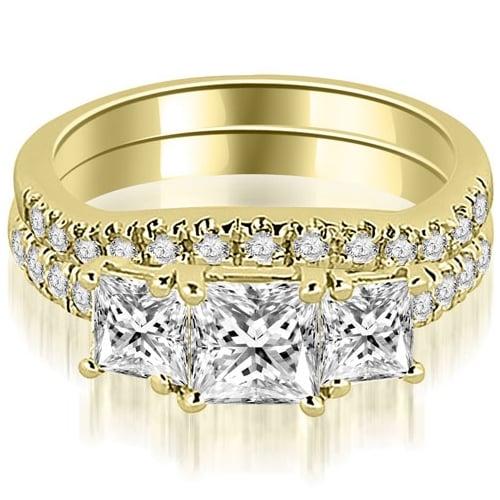 1.90 cttw. 14K Yellow Gold Lucida Three-Stone Princess Cut Bridal Set