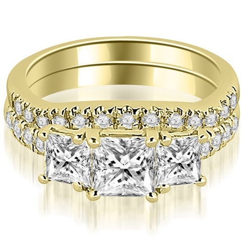 1.90 cttw. 14K Yellow Gold Lucida Three-Stone Princess Cut Bridal Set