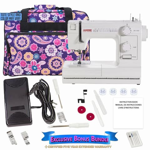 "Janome HD1000 Sewing Machine with Exclusive Bonus Bundle - 16"" x 18"" x 9"""