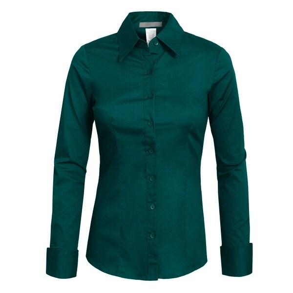 NE PEOPLE Womens Tailored Long Sleeve Button Down Shirt [NEWT04]