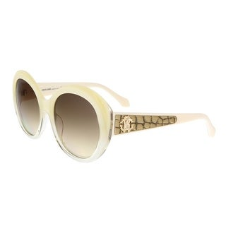 Roberto Cavalli RC983S TEJAT 25G Ivory Round Feline Sunglasses - 54-20-140