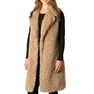 Amtal Women Shaggy Faux Fur Winter Sleeveless Long Vest with Pockets