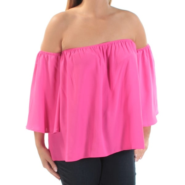 36a2d2e4ea704 Shop Womens Pink Kimono Sleeve Off Shoulder Top Size XL - On Sale - Free  Shipping On Orders Over  45 - Overstock.com - 23490777