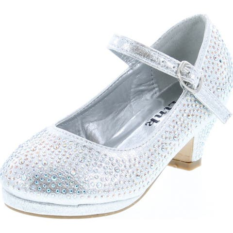 Link Girls Kids Dana-53K Rhinestone Heel Platform Dress Pumps - Silver