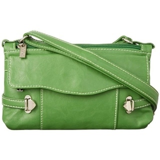 Sydney Love Womens Head Over Heels Faux Leather Organizational Crossbody Handbag - Green - SMALL
