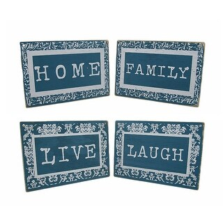 Blue And White Sentiments Decorative Wooden Wall Hangings Set of 4