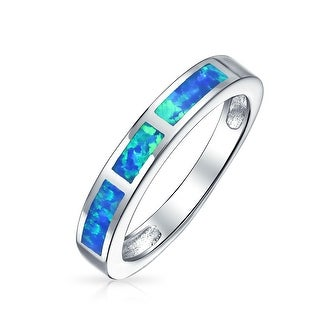 Lab Created Blue Opal InlayBand Rhodium Plated Silver Ring