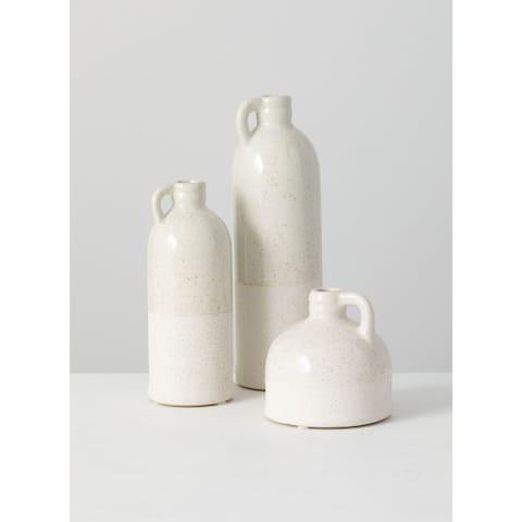 Small Ceramic White Farmhouse Jug Set of 3 Vases