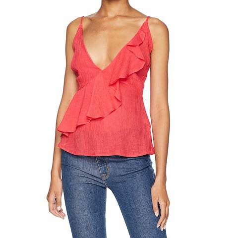 BB Dakota Orange Womens Size Small S Ruffle Front Crinkle Cami Top
