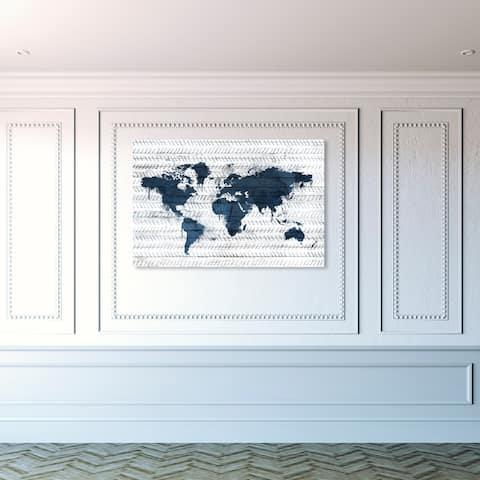 Oliver Gal 'Mapamundi Boho Navy' Maps and Flags Wall Art Canvas Print World Maps - Blue, Gray