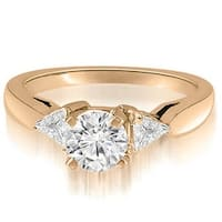 1.30 cttw. 14K Rose Gold Round And Trillion 3-Stone Diamond Engagement Ring