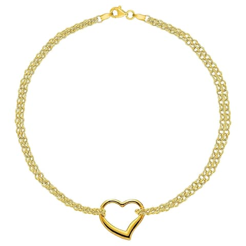 97e080b5b MCS Jewelry Inc 14 KARAT YELLOW GOLD DOUBLE STRAND ANKLET BRACELET WITH  CENTER HEART (10
