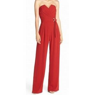 Jill Stuart NEW Red Women's Size 8 Pleated Surplice Belted Jumpsuit