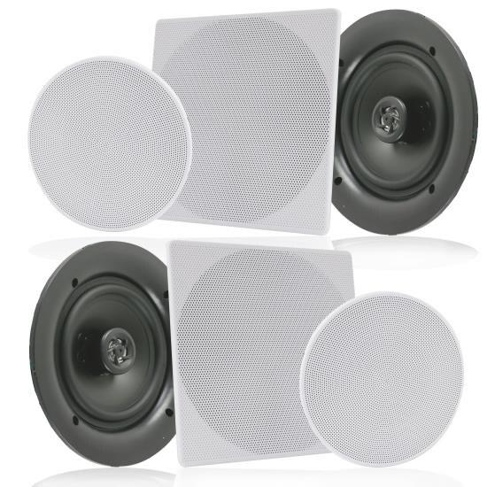 """6.5"""" In-Wall / In-Ceiling Speakers, 2-Way Flush Mount Home Speaker Pair, 200 Watt"""