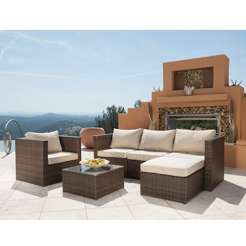 Corvus Trey Outdoor 6-piece Wicker Sofa Set with Glass Top