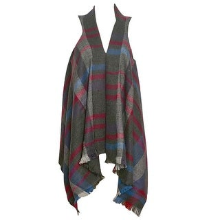 Chatties Womens Blue Grey Red Plaid Pattern Shawl Sleeveless Cardigan 16