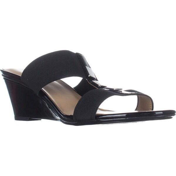 naturalizer Hayden T-Strap Wedge Sandals, Black