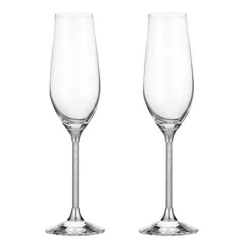 Matashi Crystal Champagne Flutes Glasses Set 8 oz- Lead-Free Crystal Sparkling Wine Glasses, Elegant Crystal Filled Glassware