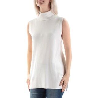 ALFANI $69 Womens New 1575 Ivory Ribbed Turtle Neck Sleeveless Sweater S B+B