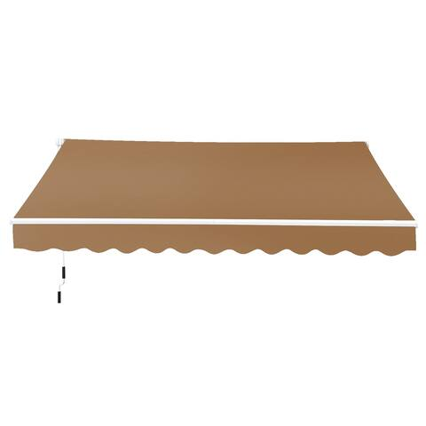 Outsunny 8' x 7' Outdoor Patio Manual Retractable Exterior Window Awning, Coffee Brown
