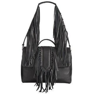 Sam Edelman Michelle Womens Fringe Leather Shoulder Bag Black