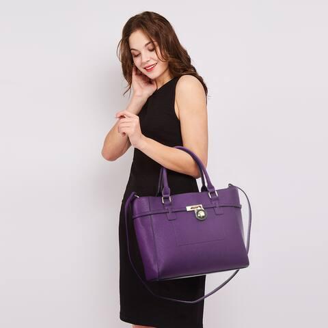 Women's Handbag Top Belted Padlock Shoulder Bag Tote Satchel Purse for Work